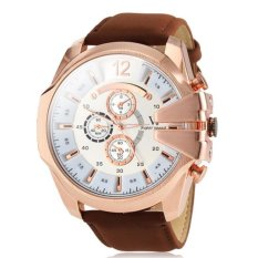 V6 Military Design Casual Watch Rose Gold Case Brown PU Leather Band