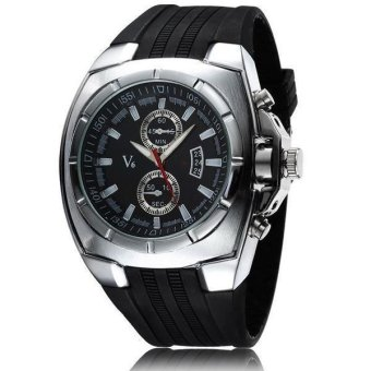 V6 Military Design Casual Watch Silver Case Black Silicone Band Black