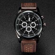 V6 Military Style Casual Quartz Watch PU Leather Band Brown