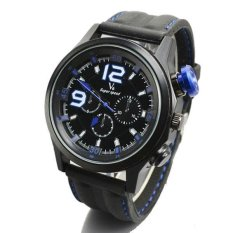 V6 Racing Design 3D Dial Casual Watch Black Case Silicone Band Blue - Intl