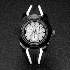 V6 Racing Style Casual Quartz Watch Rubber Band White