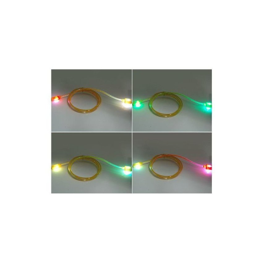 V8 1 m LED Colorful Flashing Micro USB to USB Charging Data Cable Yellow