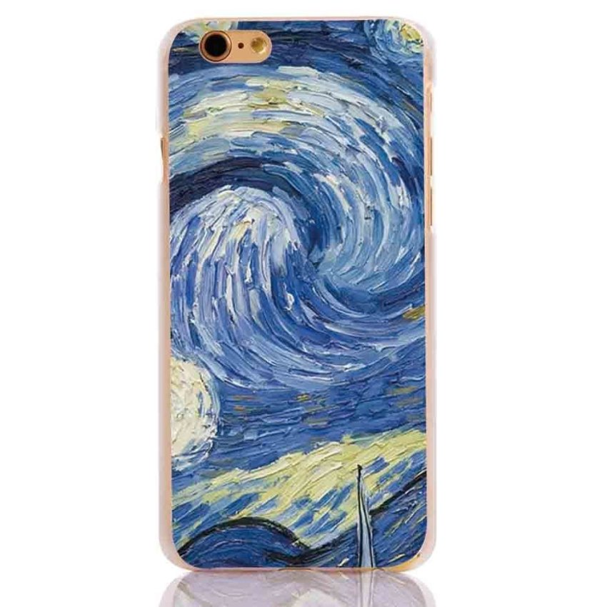 Vanki PC Art Designed Pattern Silicone Case Back Cover Skin Protector for iPhone6 4.7 (Blue) (Intl)