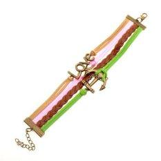 Vintage Bronze Infinity 8 Best Friend Heart Purple Rope Leather Bracelet Karma Green + Pink + Brown (Intl)