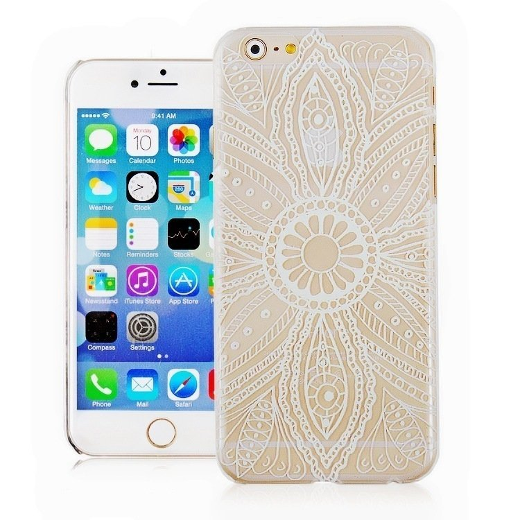 Vintage Flower Pattern Fashion Luxury Phone Back Case for Apple iPhone 6 4.7 inch (White/Clear) (Intl)