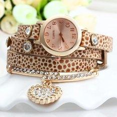 Vintage Leopard Leather Wrap Bracelet Wrist Women Watch With Heart Pendant Rhinestone (Beige)