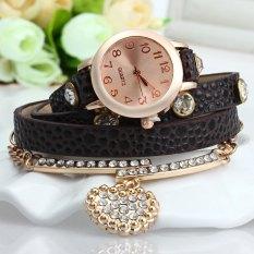 Vintage Leopard Leather Wrap Bracelet Wrist Women Watch With Heart Pendant Rhinestone (Brown)