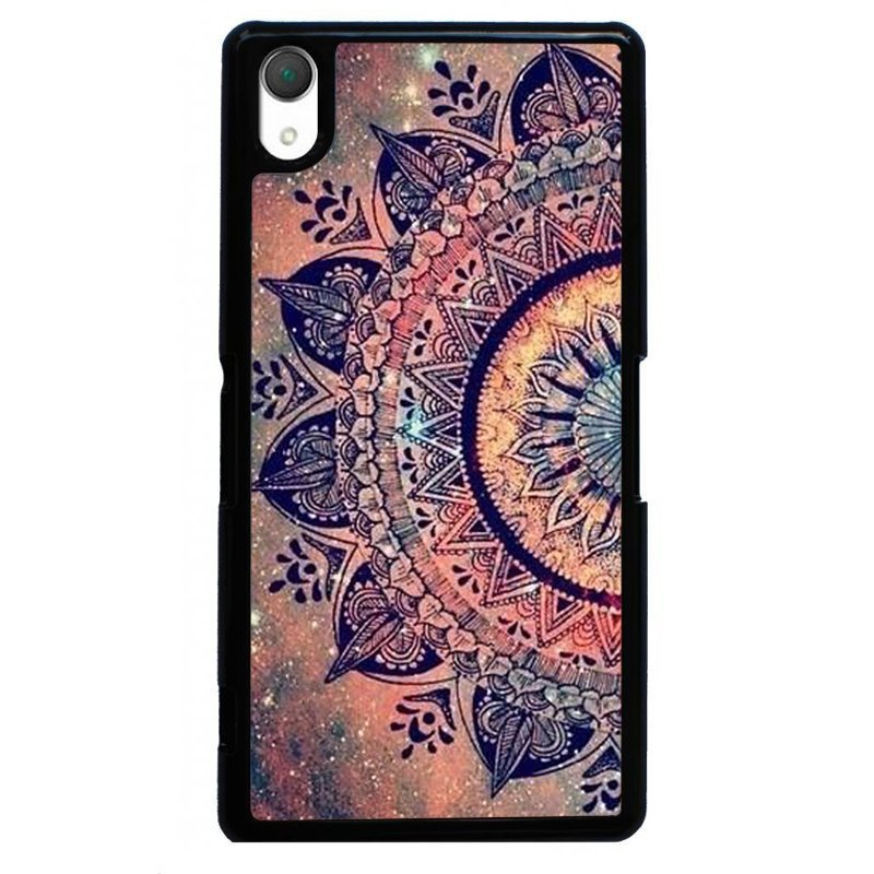 Vintage Mandala Flower Printed Phone Case for SONY Xperia Z3 (Black)