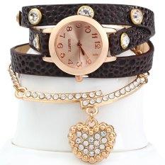 Vintage Watch Leopard Leather Wrap Bracelet Heart Pendant RhineBEIGE (Intl)