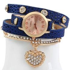 Vintage Watch Leopard Leather Wrap Bracelet Heart Pendant RhineBLUE (Intl)