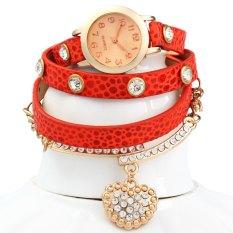 Vintage Watch Leopard Leather Wrap Bracelet Heart Pendant RhineWHITE (Intl)