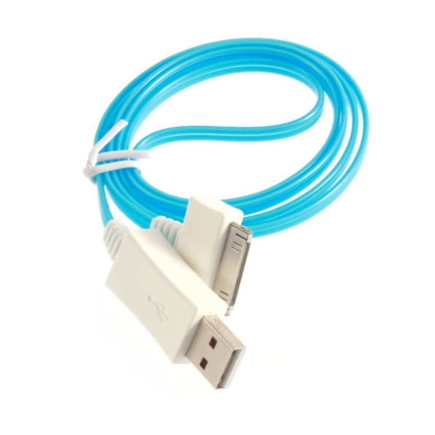Visible LED Flash Light USB Sync Charger Cable For iPhone 4 4s iPod Touch 4