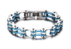 Vnox Jewelry Heavy Stainless Steel Men's Bike Chain Bracelet For Men, White & Blue (Intl)