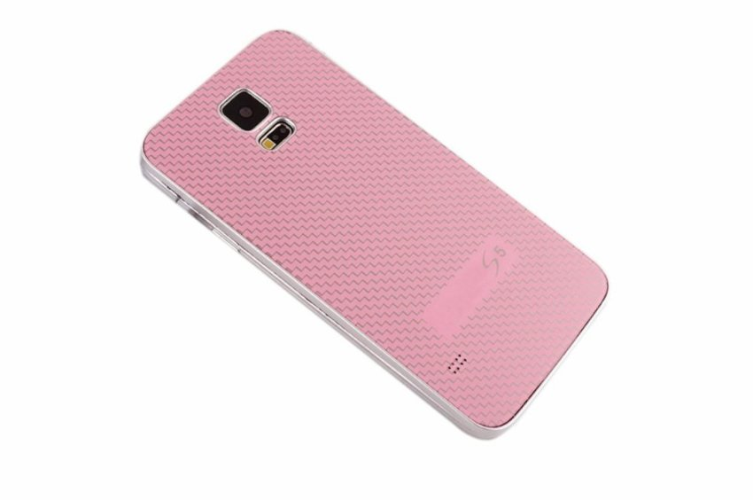 Vococal Tempered Glass Housing Back Battery Cover Case Shell for Samsung Galaxy S5 I9600 Pink