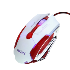 Vodool Wired USB Gaming Mouse Optical Mouse With 7 Buttons 4 DPI 800DPI-1200DPI -2400DPI-4000DPI High Speed 7 Colors Breathing Light For Gamer Red