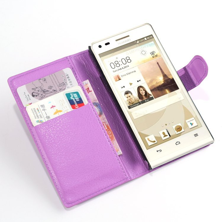 Wallet Flip Leather Case With Card Bag Holder For Huawei Ascend P7 mini Purple (Intl)