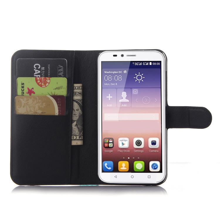 Wallet Flip Leather Case With Card Bag Holder For Huawei Ascend Y625 Black (Intl)