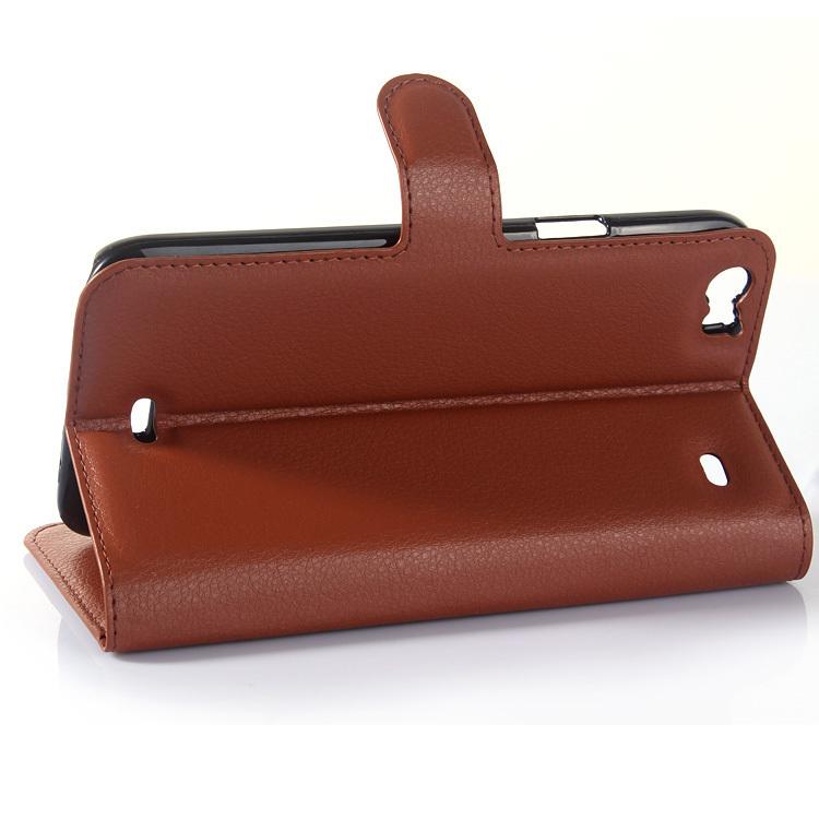 Wallet Flip Leather Case With Card Bag Holder For Wiko Daekside Brown (Intl)