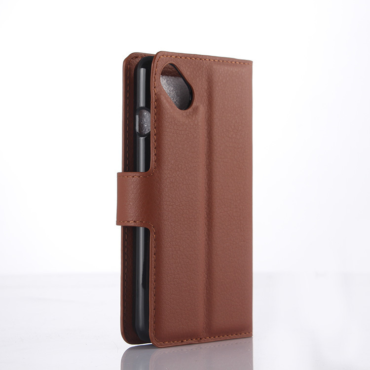 Wallet Flip Leather Case With Card Bag Holder For Wiko Sunset 2 Brown (Intl)