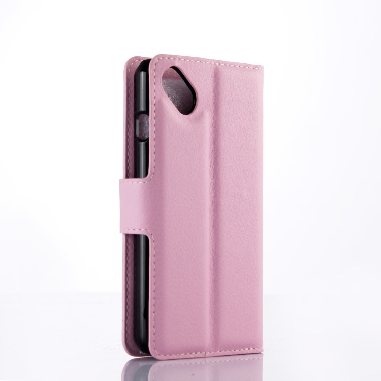 Wallet Flip Leather Case With Card Bag Holder For Wiko Sunset 2 Pink (Intl)