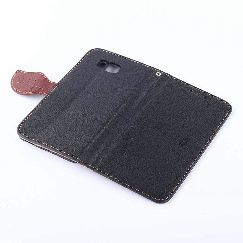 Wallet Flip Leather Case With Card Slot Holder for Samsung Galaxy Alpha G850F (Black) (Intl)