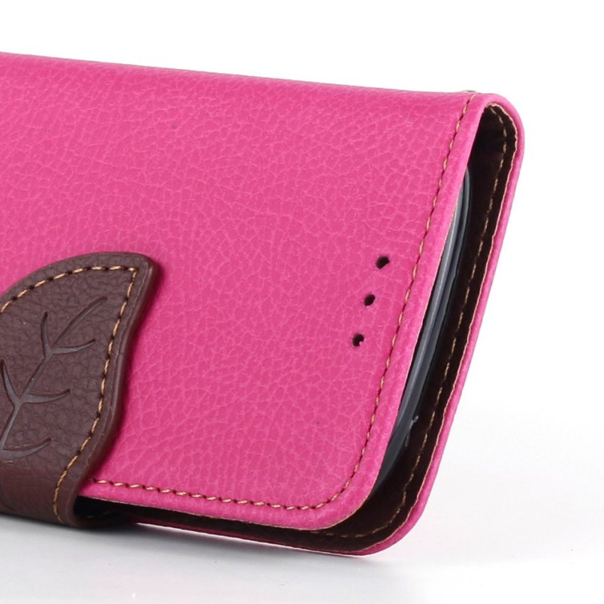 Wallet Flip Leather Case With Card Slot Holder for Samsung Galaxy S3 Mini i8190 (Pink) (Intl)