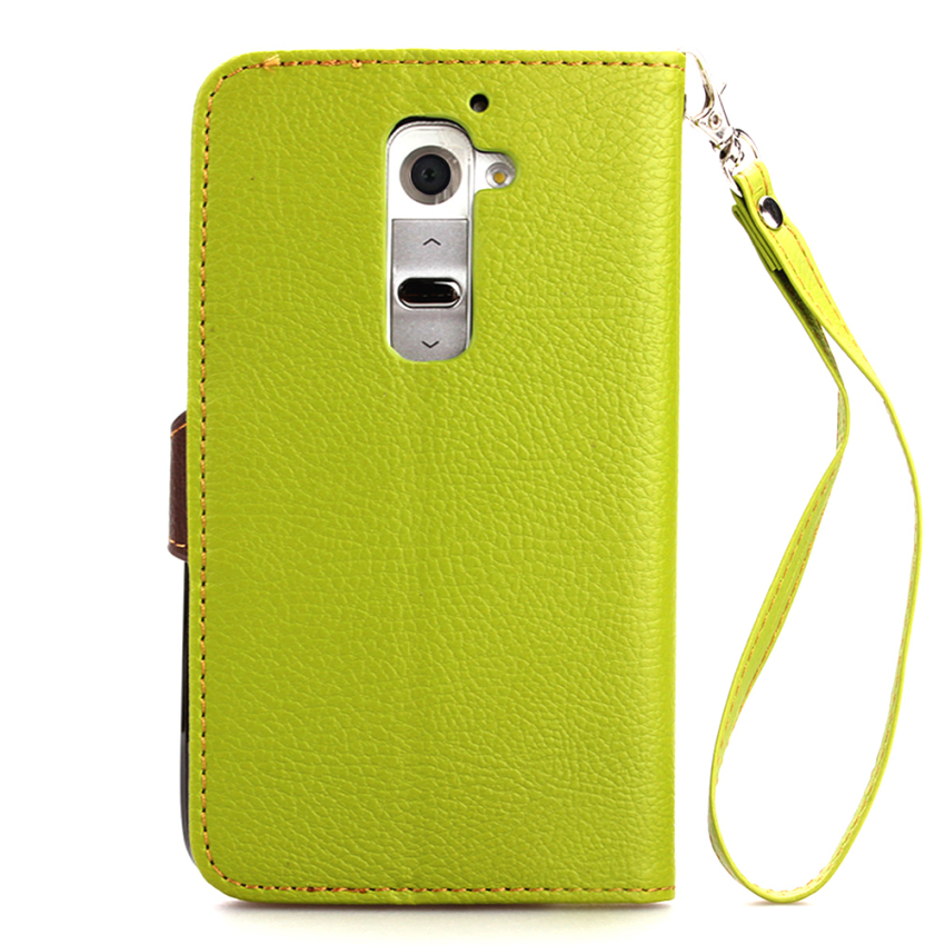 Wallet Flip Leather Cover with Card Slot Holder for LG G2 mini (Green) (Intl)