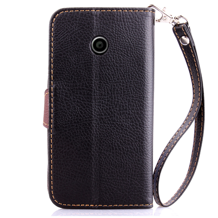 Wallet Flip Leather Cover with Card Slot Holder for Moto E (Black) (Intl)