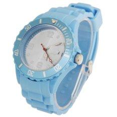 Watch Silicone Jelly Sport Quartz Watch With Date Display - Jam Tangan Pria - Biru Muda - Silicone