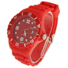 Watch Silicone Jelly Sport Quartz Watch with Date Display - Jam Tangan Pria - Merah - Silicone