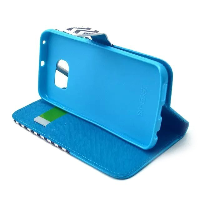 Wave Pattern Stand Wallet Leather Cover for Samsung Galaxy S6 Edge (Black Blue)