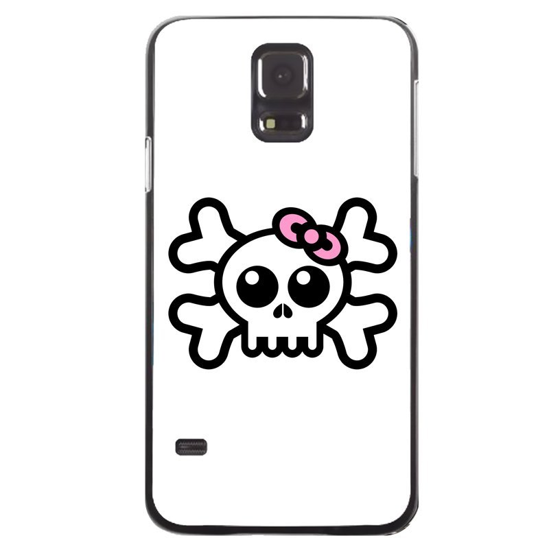 Wear Bowknot Skeleton Painting Cover For Samsung Galaxy S5 (Black)