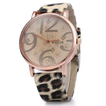 Wecin Men Women Quartz Watch Big Number Scales Leather Band