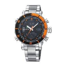 WEIDE Men's Double Time LCD Digital Analog Waterproof Silver Stainless Steel Sports Watch
