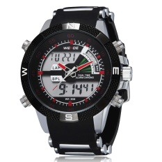 Weide WH1104-P Fashion Digital Quartz Rubber Strap Men Wristwatches (Red)
