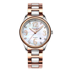 Weishi Crown Qin Simple Ceramic Diamond Quartz Watch Fashion Leisure Watch Waterproof Ladies Fashion Watch Tide GQ90009 Rose Gold Ceramic