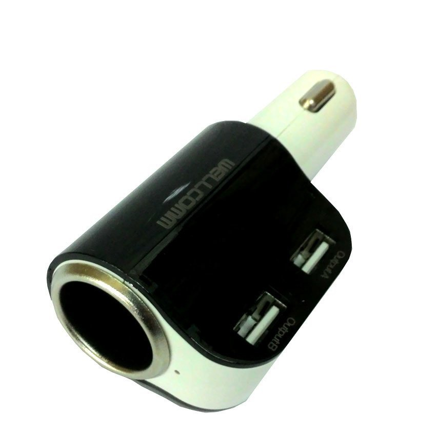 Wellcomm Dual Connector Car Charger 3.1A Kualitas Tinggi Charger Mobil - Hitam
