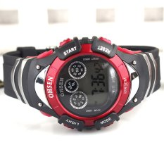 Wholesale OHSEN Brand Sport Watch Boys Child Digital Display Waterproof Silicone Band 7 Colours Yellow Fashion Watches For Gift-red (Intl)
