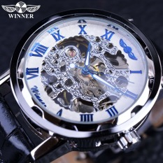 Winner Blue Hands Black Leather Strap Retro Classic Design Clock Mens Top Brand Luxury Fashion Casual Designer Watch - Intl