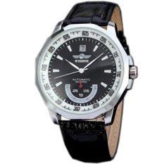 WINNER Casual Leather Strap Automatic Mechanical Mens Sport Watch Black WW323 (Intl)