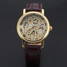 WINNER Classic Gold Skeleton Mechanical Hand Wind Men's Leather Wrist Watch WW296