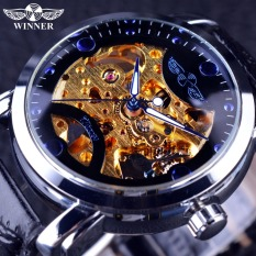 Winner Golden Movement Blue Ocean Design Transparent Mens Wrist Watch Skeleton Automatic Watch