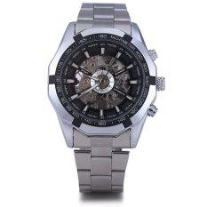 Winner Men Hollow Automatic Mechanical Watch Stainless Steel BanB BLACK