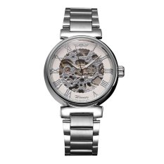 WINNER Stainless Steel Watchband Self-winding Mechanical Wristwatch Transparent Hollowed-out Dial Automatic Skeleton Watch - Intl