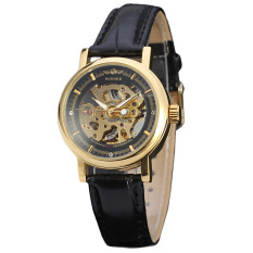 WINNER Women Ultra-thin Sided Skeleton Mechanical Wrist Watch (Black) - Intl