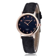 WOMAGE Blue Jeans Style Straps Women's Wrist Watch Alloy Case Analog Quartz Watches Black - Intl