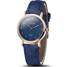 WOMAGE Blue Jeans Style Straps Women's Wrist Watch Alloy Case Analog Quartz Watches Dark Blue