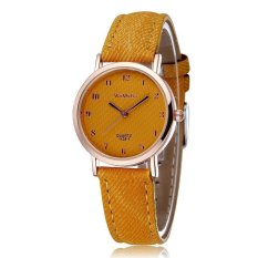 WOMAGE Blue Jeans Style Straps Women's Wrist Watch Alloy Case Analog Quartz Watches Yellow