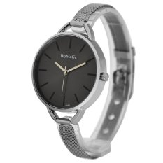 WoMaGe Thin Wire Reticularis Women's Silver Stainless Steel Strap Watch 994005 (Black)