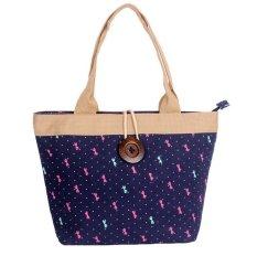 Woman Fashion Canvas Button Handbag Blue Bow (YKFBB-42) - Intl